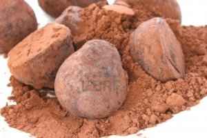 11242051-chocolate-truffle-pralines-sweets-covered-in-cocoa-powder-on-white-plate-and-backgroun